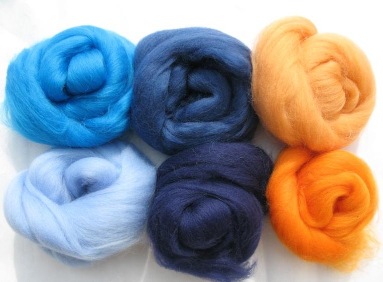 cb355838f Merino vlna - modrooranžová | Plstenie - Ovčia vlna - textilné techniky.